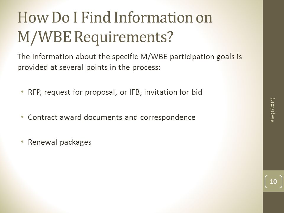 How Do I Find Information on M/WBE Requirements.
