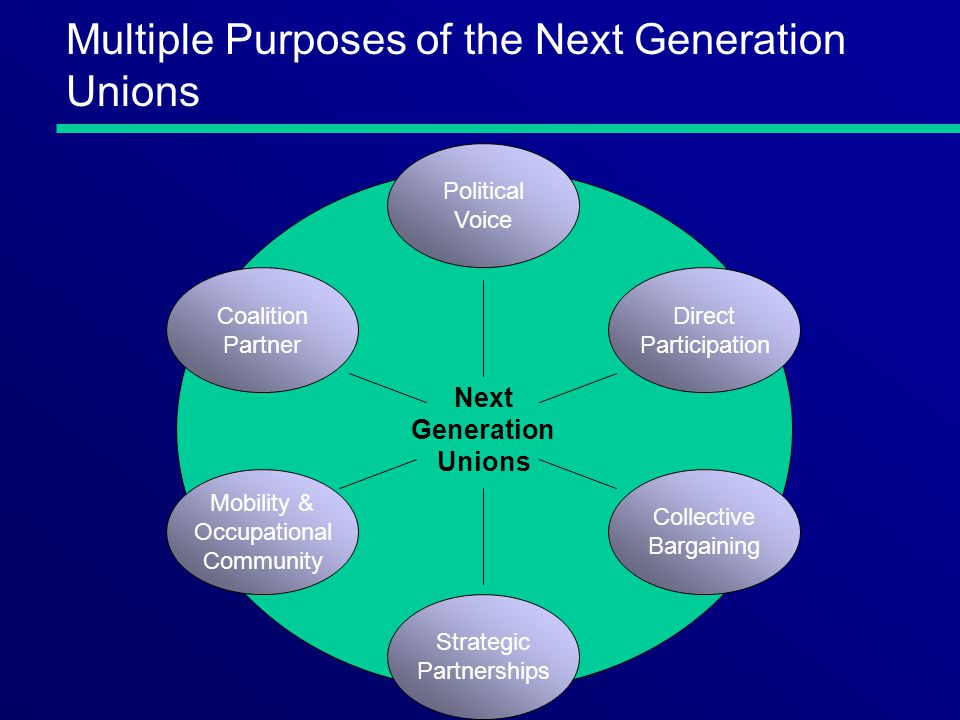 Multiple Purposes of the Next Generation Unions Next Generation Unions Political Voice Direct Participation Coalition Partner Mobility & Occupational