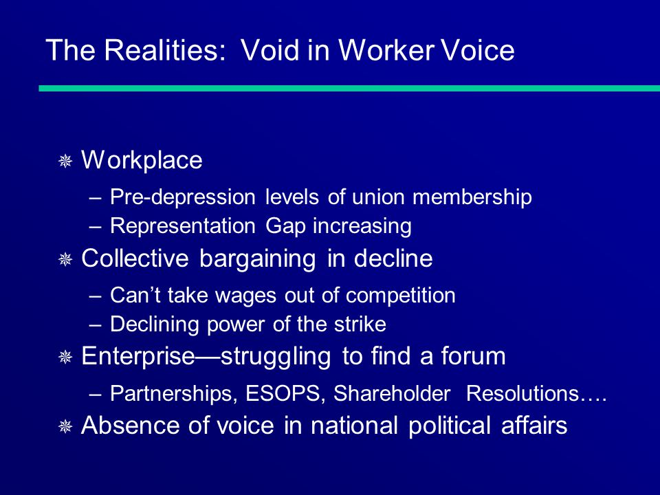 The Realities: Void in Worker Voice ¯ Workplace –Pre-depression levels of union membership –Representation Gap increasing ¯ Collective bargaining in d