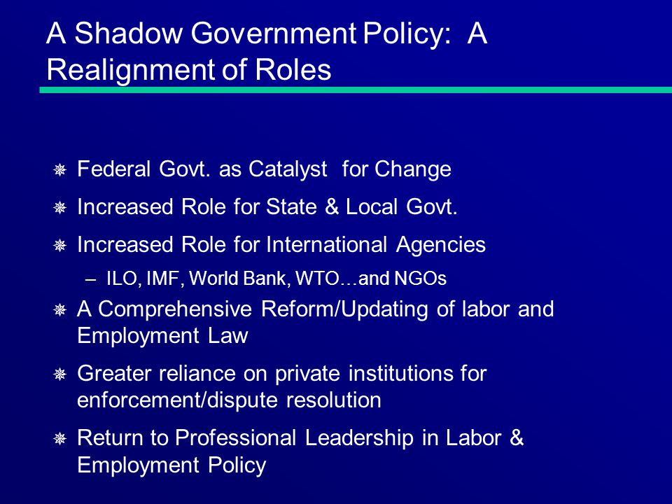 A Shadow Government Policy: A Realignment of Roles ¯ Federal Govt.