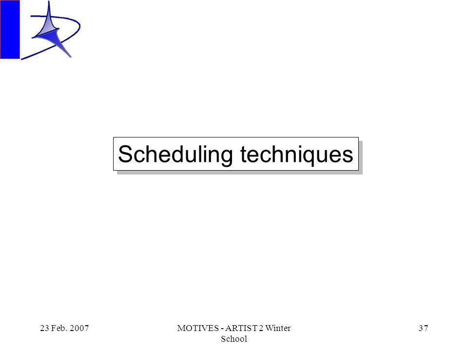 23 Feb. 2007MOTIVES - ARTIST 2 Winter School 37 Scheduling techniques