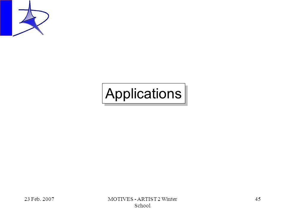 23 Feb. 2007MOTIVES - ARTIST 2 Winter School 45 Applications