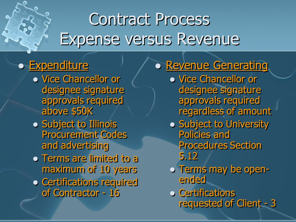 Contract Process Expense versus Revenue Expenditure Vice Chancellor or designee signature approvals required above $50K Subject to Illinois Procurement Codes and advertising Terms are limited to a maximum of 10 years Certifications required of Contractor - 16 Expenditure Vice Chancellor or designee signature approvals required above $50K Subject to Illinois Procurement Codes and advertising Terms are limited to a maximum of 10 years Certifications required of Contractor - 16 Revenue Generating Vice Chancellor or designee signature approvals required regardless of amount Subject to University Policies and Procedures Section 5.12 Terms may be open- ended Certifications requested of Client - 3