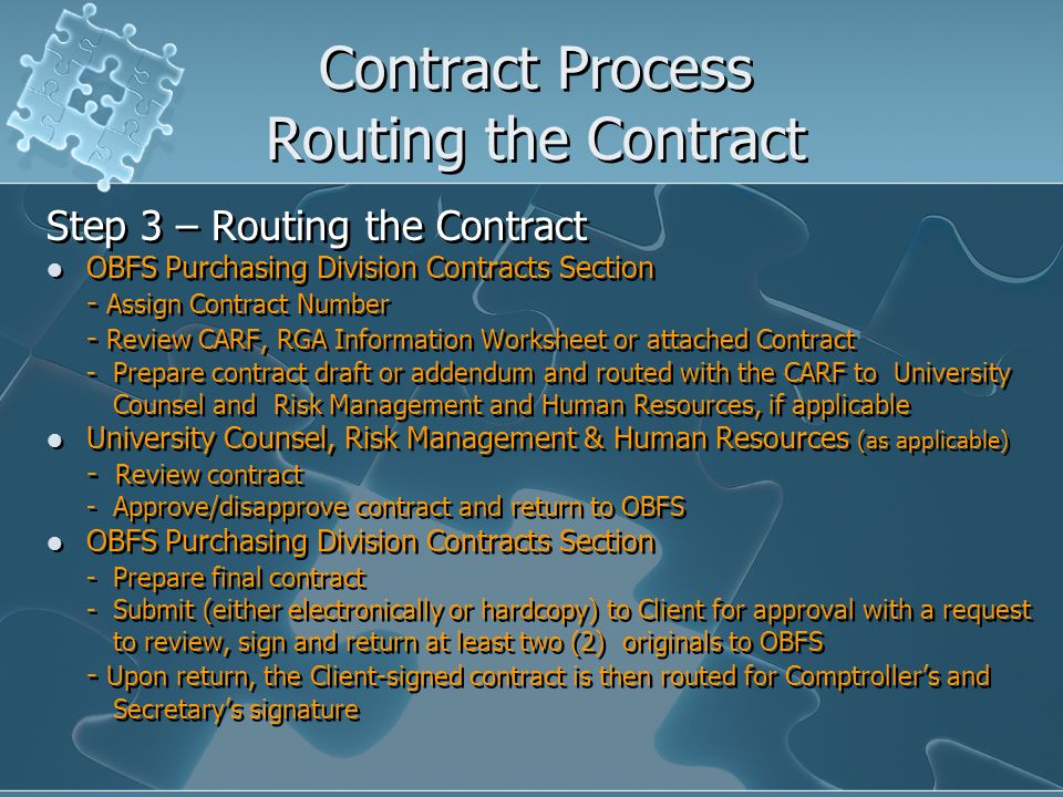 Contract Process Routing the Contract Step 3 – Routing the Contract OBFS Purchasing Division Contracts Section - Assign Contract Number - Review CARF, RGA Information Worksheet or attached Contract - Prepare contract draft or addendum and routed with the CARF to University Counsel and Risk Management and Human Resources, if applicable University Counsel, Risk Management & Human Resources (as applicable) - Review contract - Approve/disapprove contract and return to OBFS OBFS Purchasing Division Contracts Section - Prepare final contract - Submit (either electronically or hardcopy) to Client for approval with a request to review, sign and return at least two (2) originals to OBFS - Upon return, the Client-signed contract is then routed for Comptrollers and Secretarys signature Step 3 – Routing the Contract OBFS Purchasing Division Contracts Section - Assign Contract Number - Review CARF, RGA Information Worksheet or attached Contract - Prepare contract draft or addendum and routed with the CARF to University Counsel and Risk Management and Human Resources, if applicable University Counsel, Risk Management & Human Resources (as applicable) - Review contract - Approve/disapprove contract and return to OBFS OBFS Purchasing Division Contracts Section - Prepare final contract - Submit (either electronically or hardcopy) to Client for approval with a request to review, sign and return at least two (2) originals to OBFS - Upon return, the Client-signed contract is then routed for Comptrollers and Secretarys signature