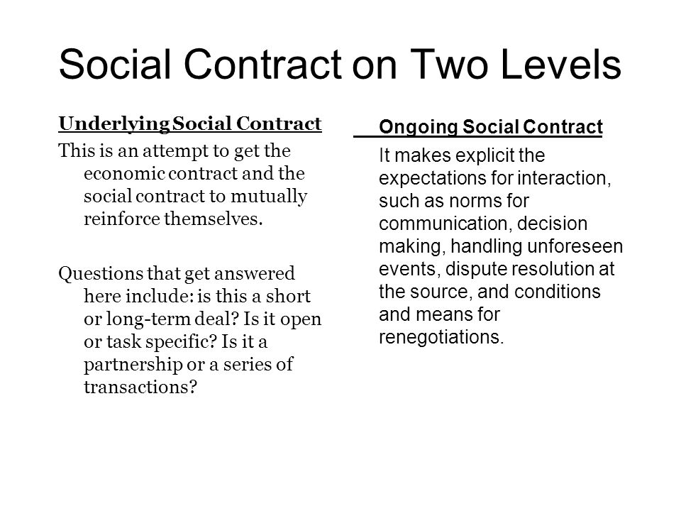 Social Contract on Two Levels Underlying Social Contract This is an attempt to get the economic contract and the social contract to mutually reinforce themselves.