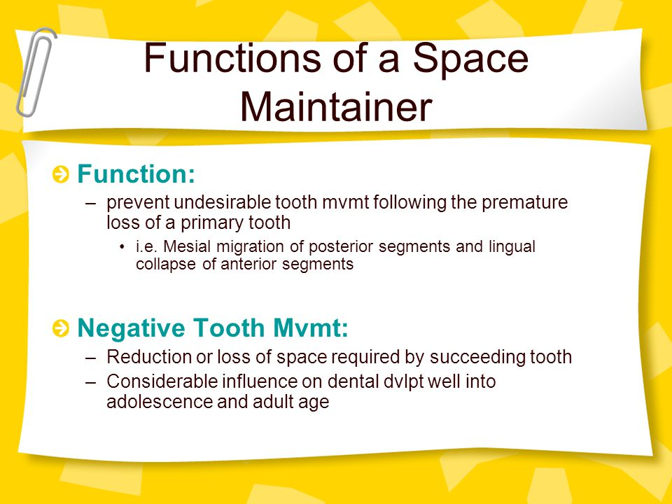 Functions of a Space Maintainer Function: –prevent undesirable tooth mvmt following the premature loss of a primary tooth i.e. Mesial migration of pos