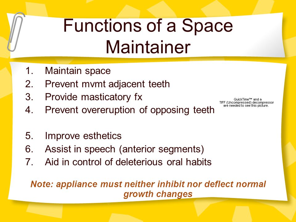 Functions of a Space Maintainer 1.Maintain space 2.Prevent mvmt adjacent teeth 3.Provide masticatory fx 4.Prevent overeruption of opposing teeth 5.Imp