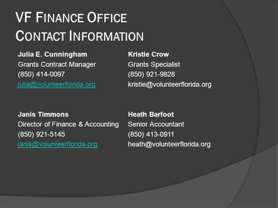 VF F INANCE O FFICE C ONTACT I NFORMATION Julia E.