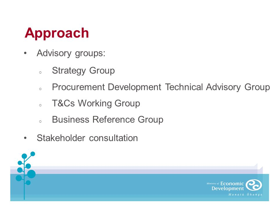 Approach Advisory groups: o Strategy Group o Procurement Development Technical Advisory Group o T&Cs Working Group o Business Reference Group Stakehol
