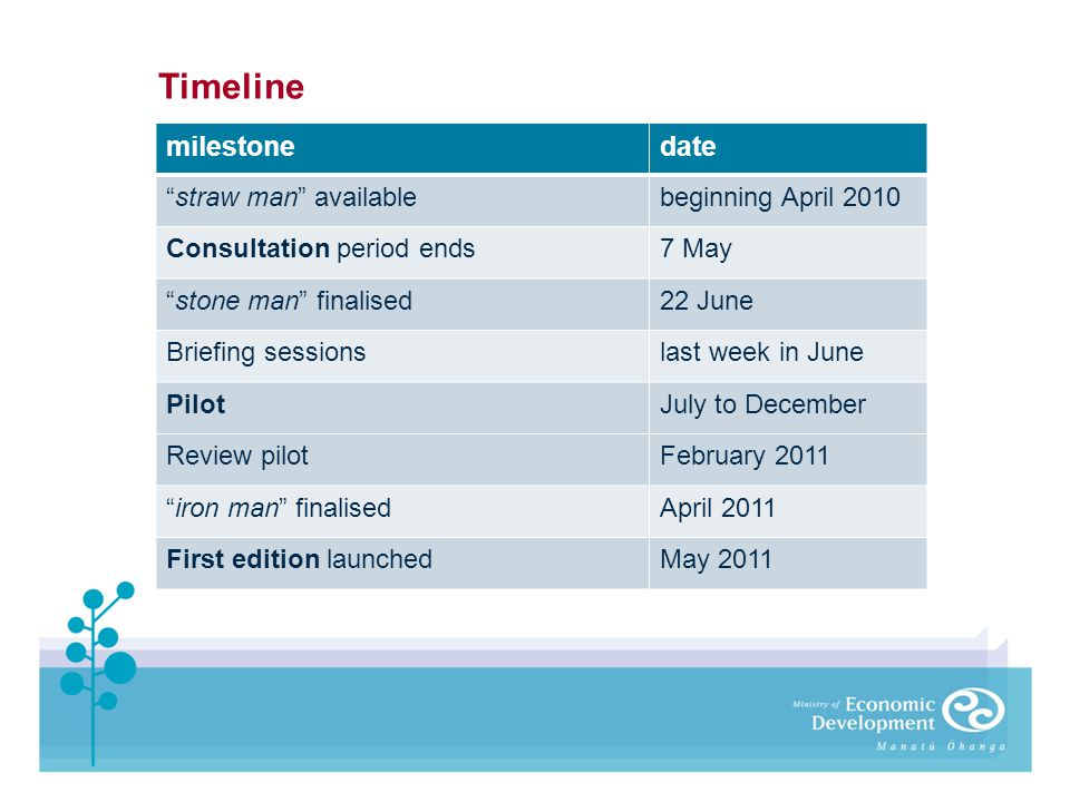 milestonedate straw man availablebeginning April 2010 Consultation period ends7 May stone man finalised22 June Briefing sessionslast week in June Pilo