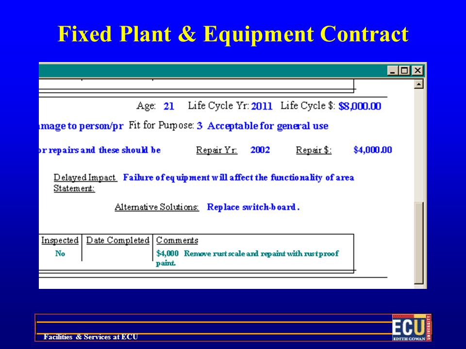 Facilities & Services at ECU Fixed Plant & Equipment Contract