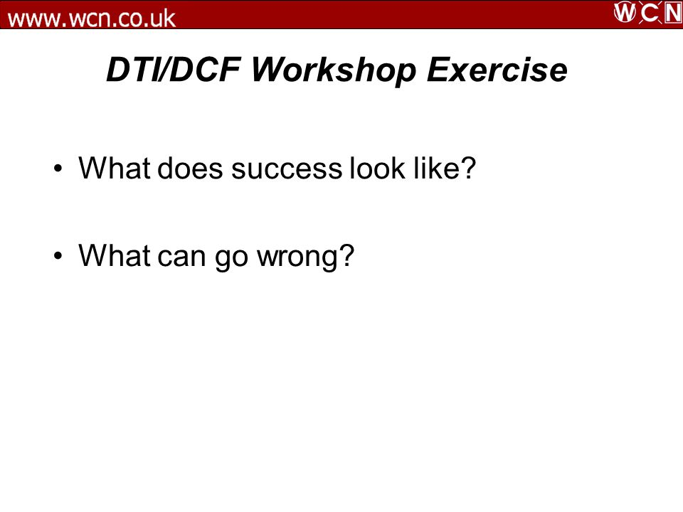 DTI/DCF Workshop Exercise What does success look like? What can go wrong?