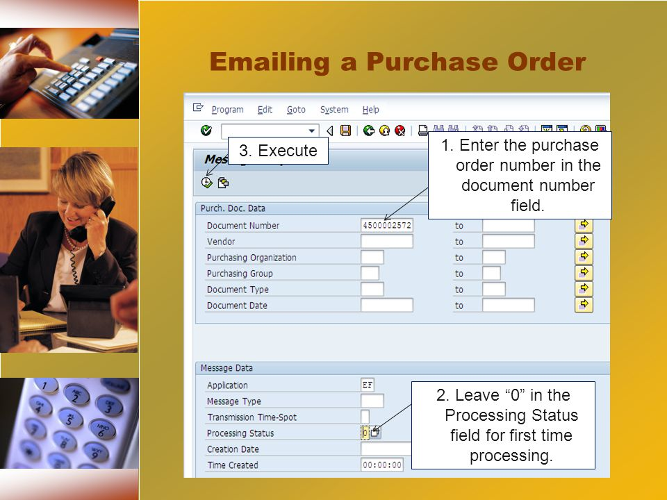 1. Enter the purchase order number in the document number field.