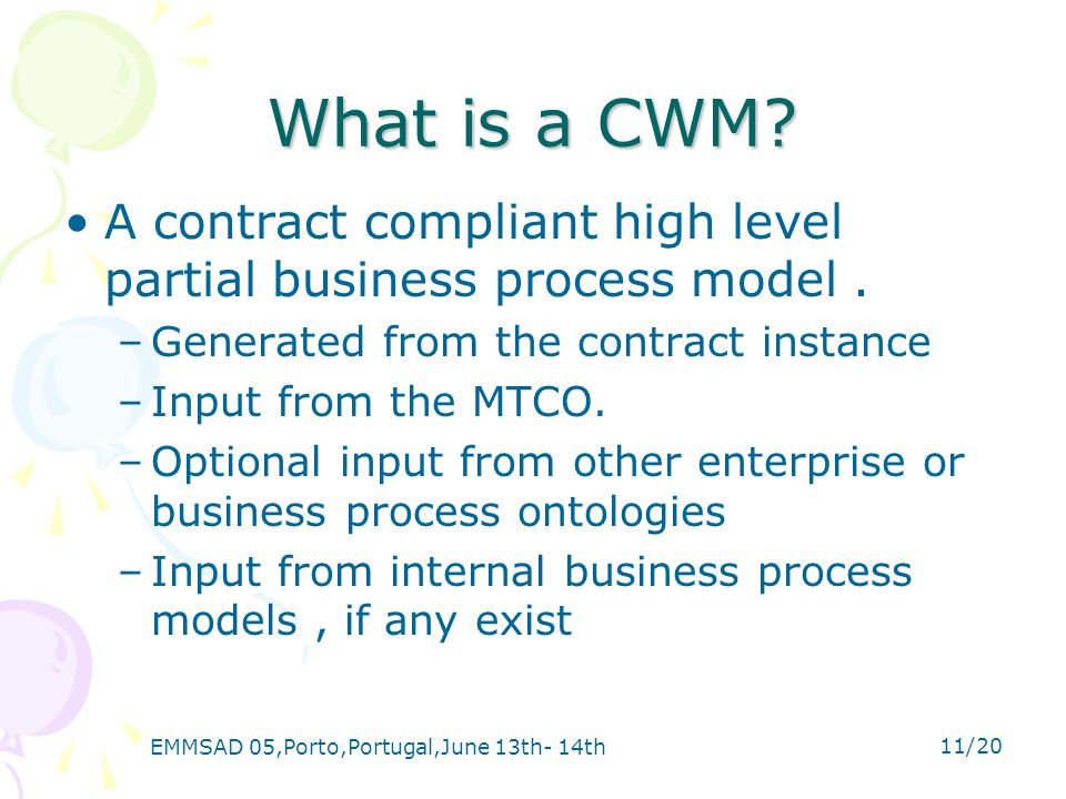EMMSAD 05,Porto,Portugal,June 13th- 14th 11/20 What is a CWM.