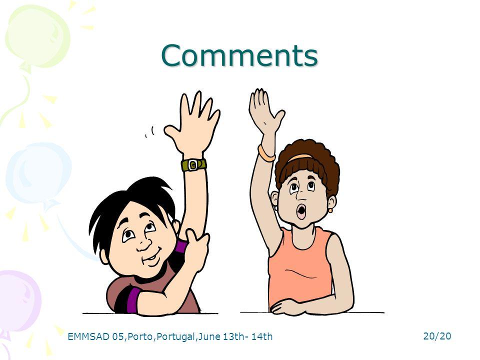 EMMSAD 05,Porto,Portugal,June 13th- 14th 20/20 Comments