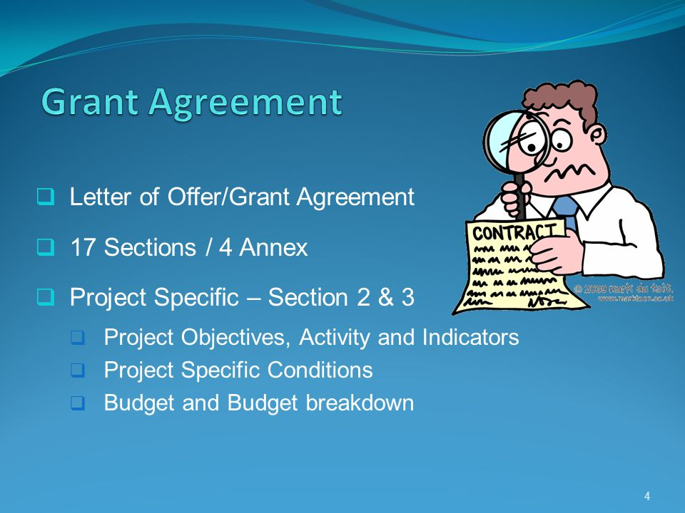 Letter of Offer/Grant Agreement 17 Sections / 4 Annex Project Specific – Section 2 & 3 Project Objectives, Activity and Indicators Project Specific Co