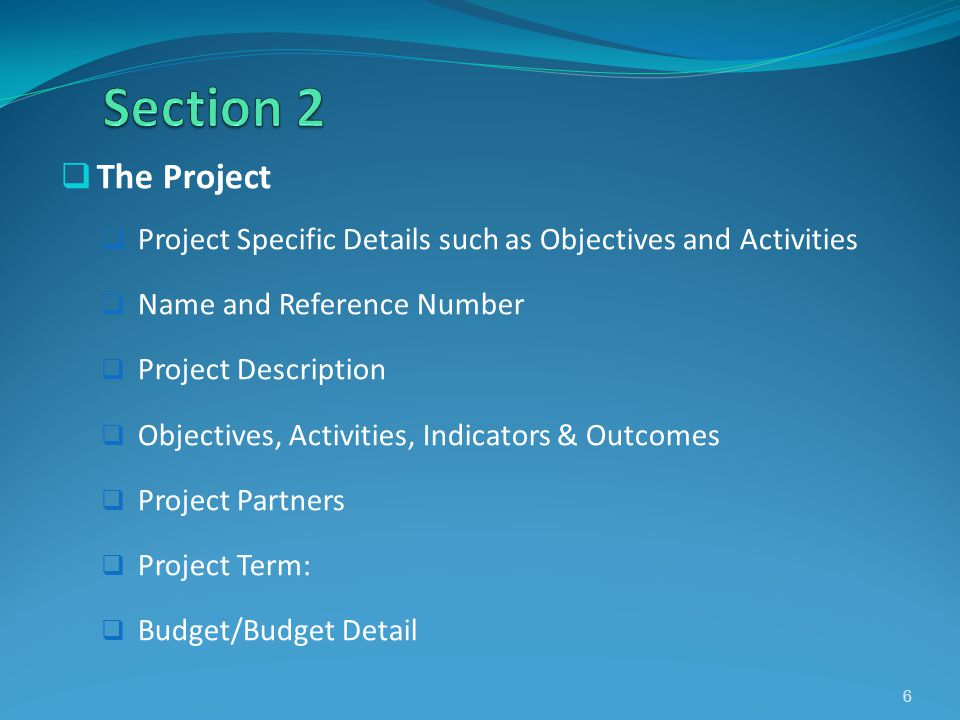 The Project Project Specific Details such as Objectives and Activities Name and Reference Number Project Description Objectives, Activities, Indicator