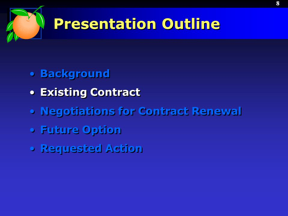 9 Existing Contract September 30, 2006 – Water Conserv II Contract for Operations executed with Woodard & Curran –RFP issued by the City of Orlando –BCC approved contract award on 9/19/06 –Initial 5-year term with additional 5-year renewals September 30, 2011 – End of first 5-year term