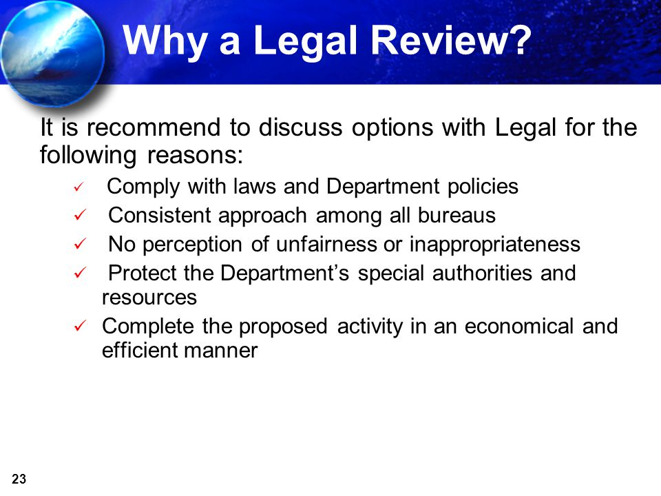 23 Why a Legal Review.