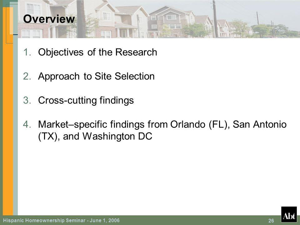 Hispanic Homeownership Seminar - June 1, Overview 1.Objectives of the Research 2.Approach to Site Selection 3.Cross-cutting findings 4.Market–specific findings from Orlando (FL), San Antonio (TX), and Washington DC