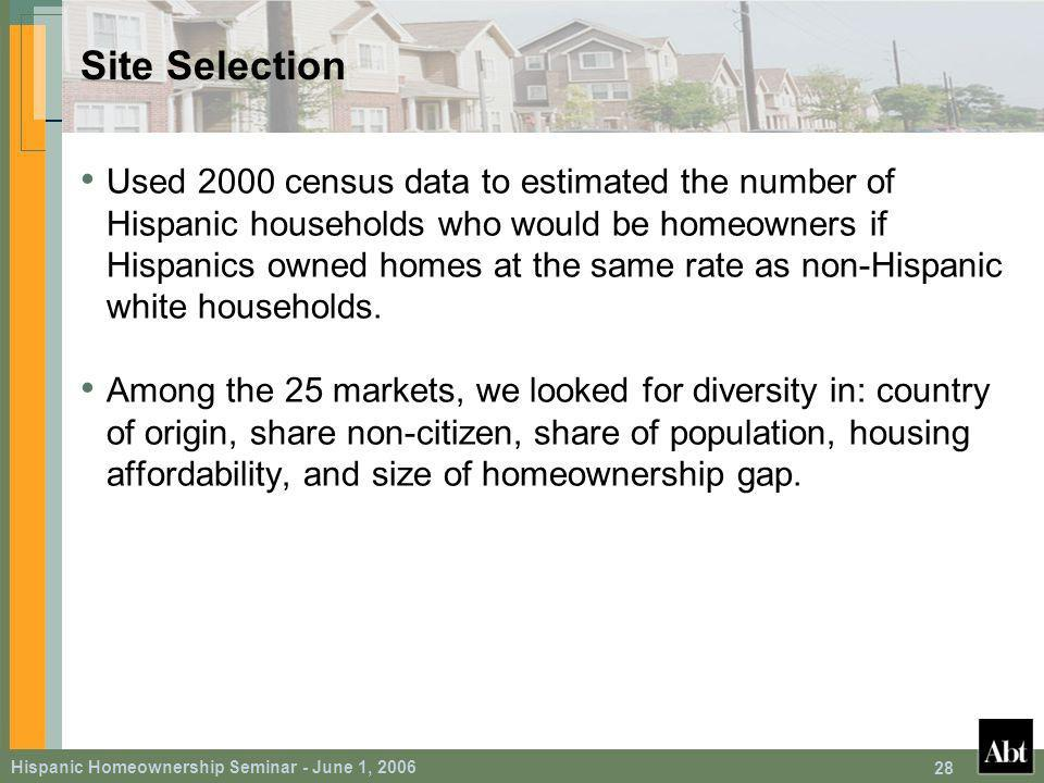 Hispanic Homeownership Seminar - June 1, Site Selection Used 2000 census data to estimated the number of Hispanic households who would be homeowners if Hispanics owned homes at the same rate as non-Hispanic white households.