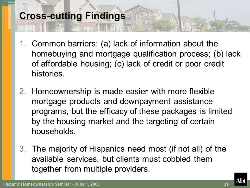 Hispanic Homeownership Seminar - June 1, Cross-cutting Findings 1.Common barriers: (a) lack of information about the homebuying and mortgage qualification process; (b) lack of affordable housing; (c) lack of credit or poor credit histories.