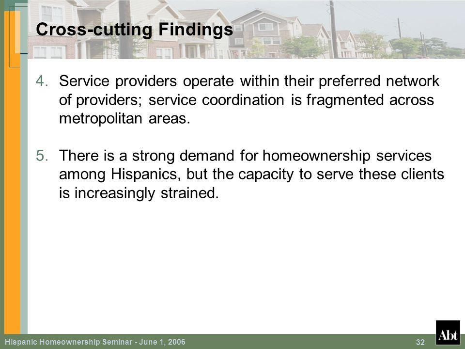 Hispanic Homeownership Seminar - June 1, Cross-cutting Findings 4.Service providers operate within their preferred network of providers; service coordination is fragmented across metropolitan areas.