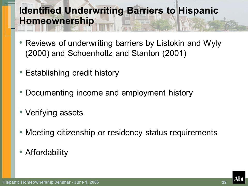 Hispanic Homeownership Seminar - June 1, Identified Underwriting Barriers to Hispanic Homeownership Reviews of underwriting barriers by Listokin and Wyly (2000) and Schoenhotlz and Stanton (2001) Establishing credit history Documenting income and employment history Verifying assets Meeting citizenship or residency status requirements Affordability