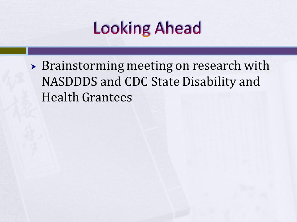 Brainstorming meeting on research with NASDDDS and CDC State Disability and Health Grantees