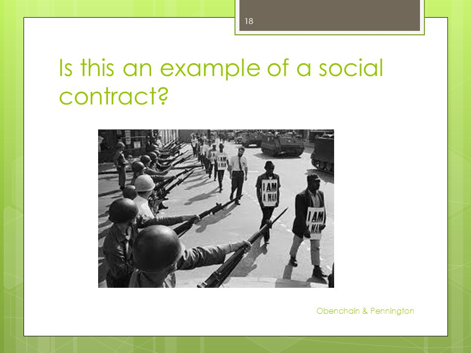 Is this an example of a social contract Obenchain & Pennington 18