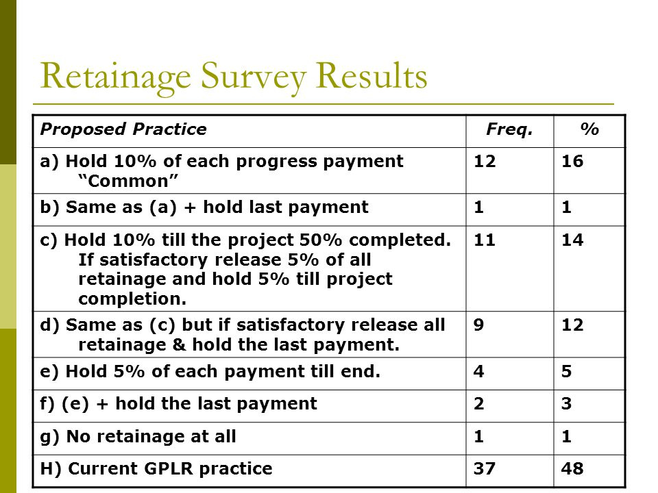 Retainage Survey Results Proposed PracticeFreq.% a) Hold 10% of each progress payment Common 1216 b) Same as (a) + hold last payment11 c) Hold 10% till the project 50% completed.