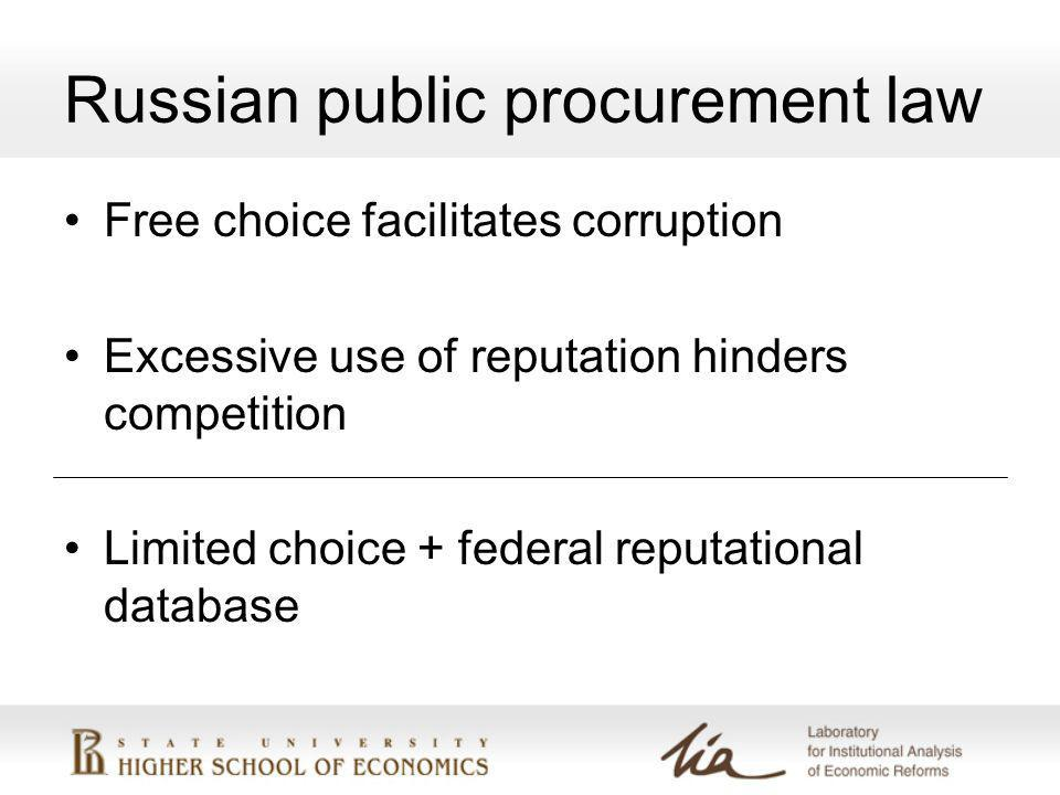 Russian public procurement law Free choice facilitates corruption Excessive use of reputation hinders competition Limited choice + federal reputational database