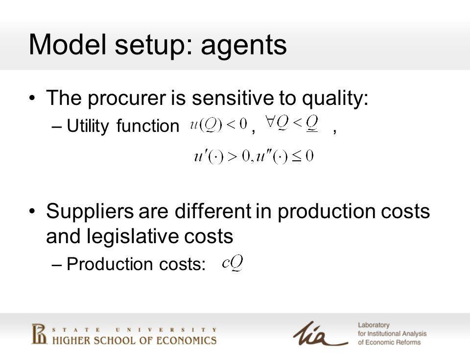 Model setup: agents The procurer is sensitive to quality: –Utility function,, Suppliers are different in production costs and legislative costs –Production costs: