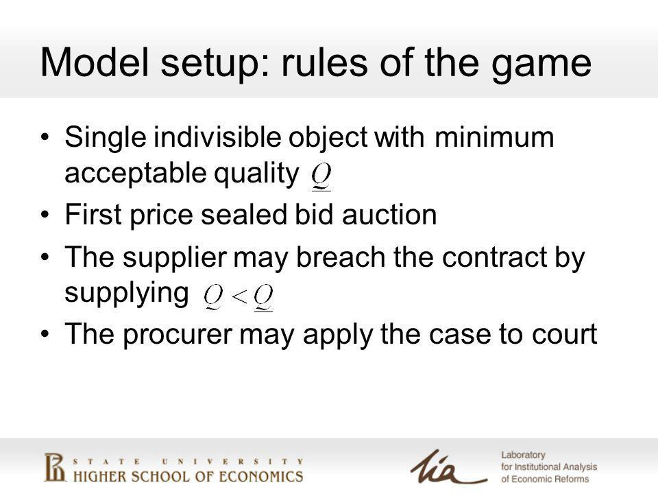 Model setup: rules of the game Single indivisible object with minimum acceptable quality First price sealed bid auction The supplier may breach the contract by supplying The procurer may apply the case to court