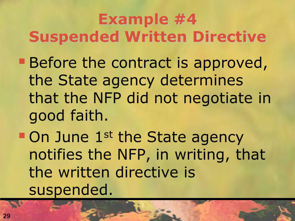Example #4 Suspended Written Directive Before the contract is approved, the State agency determines that the NFP did not negotiate in good faith.