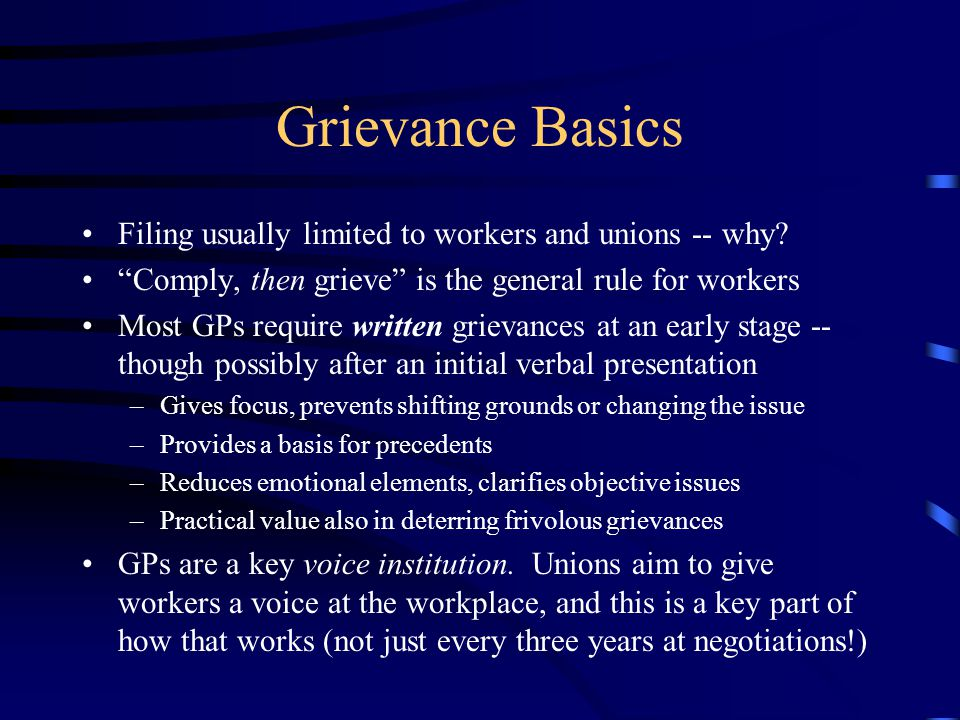 Why Do Grievances Arise.