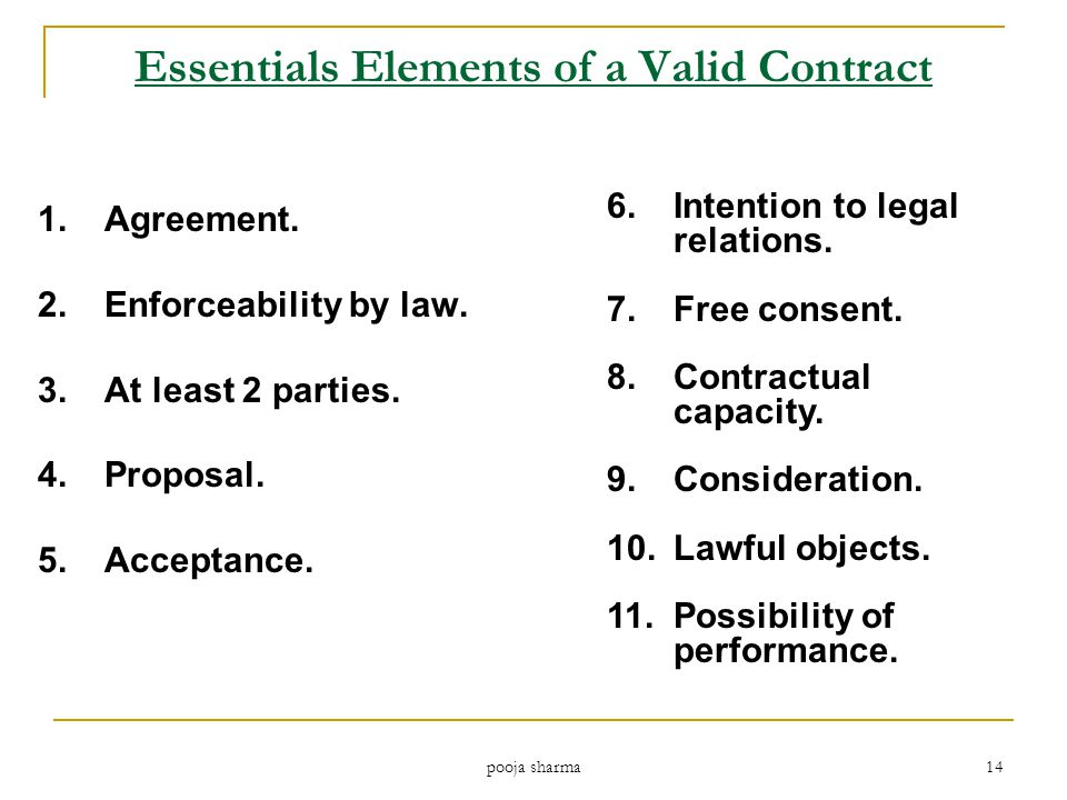 Essentials Elements of a Valid Contract 1.Agreement.