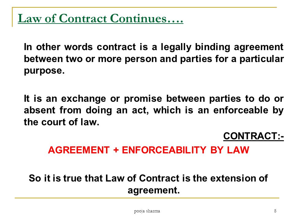 Law of Contract Continues….