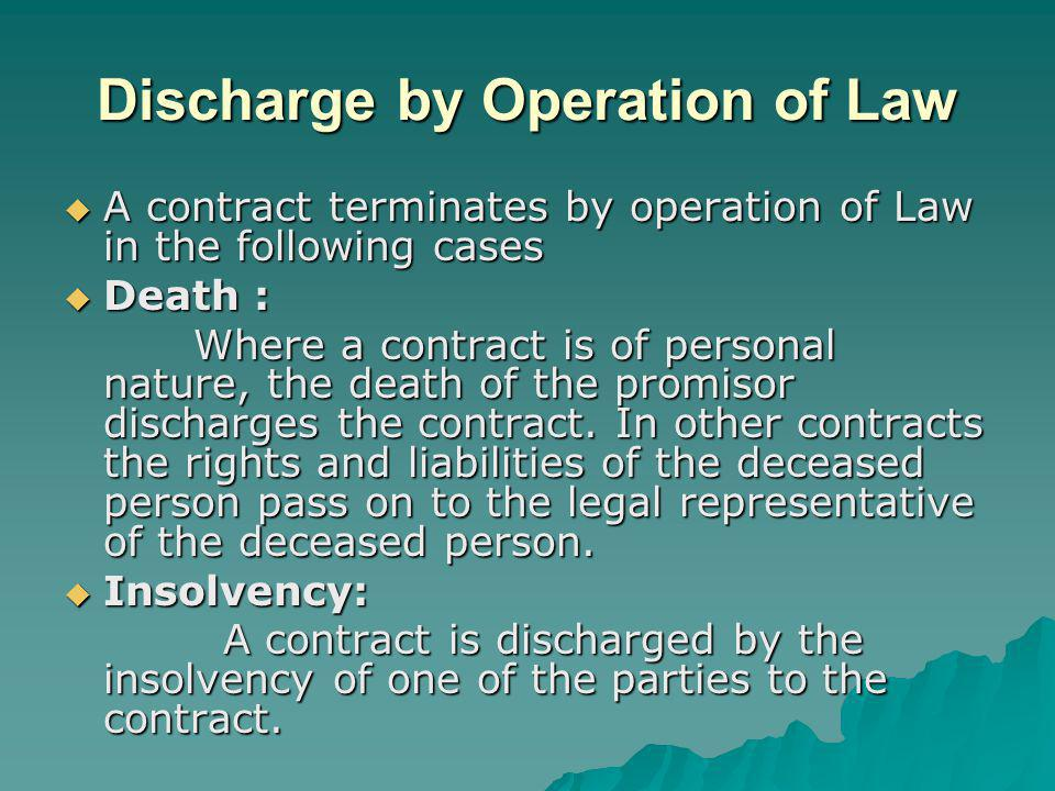 Discharge by Operation of Law A contract terminates by operation of Law in the following cases A contract terminates by operation of Law in the follow