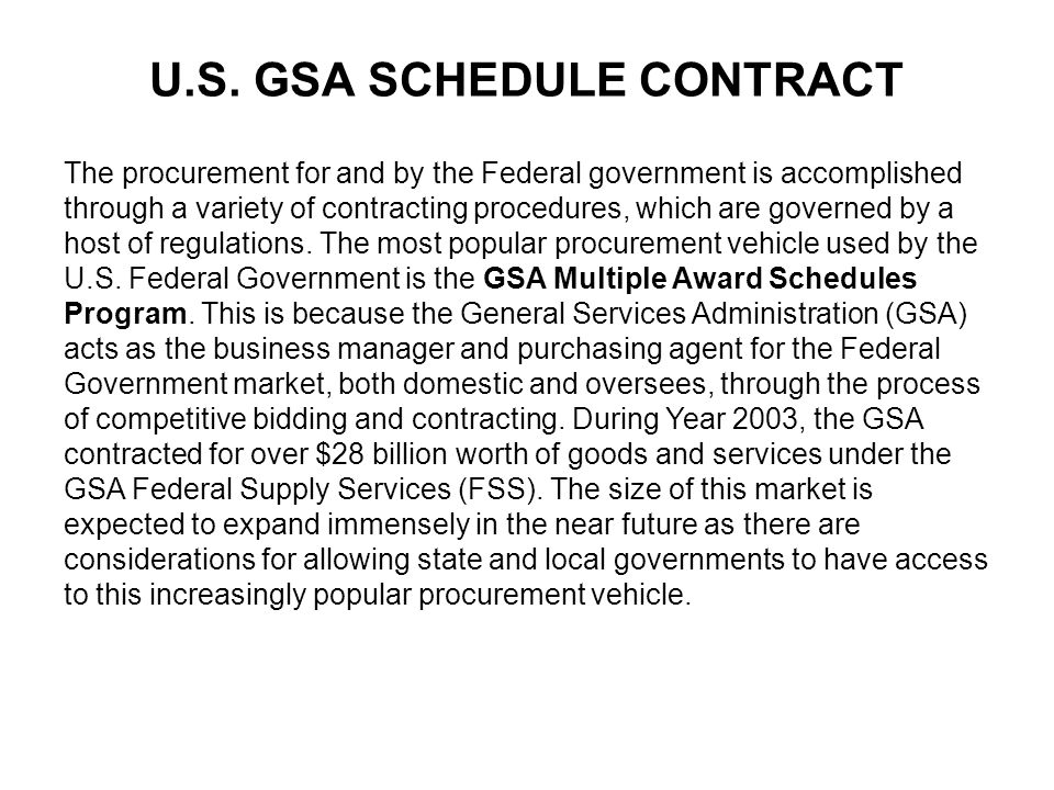 The procurement for and by the Federal government is accomplished through a variety of contracting procedures, which are governed by a host of regulations.