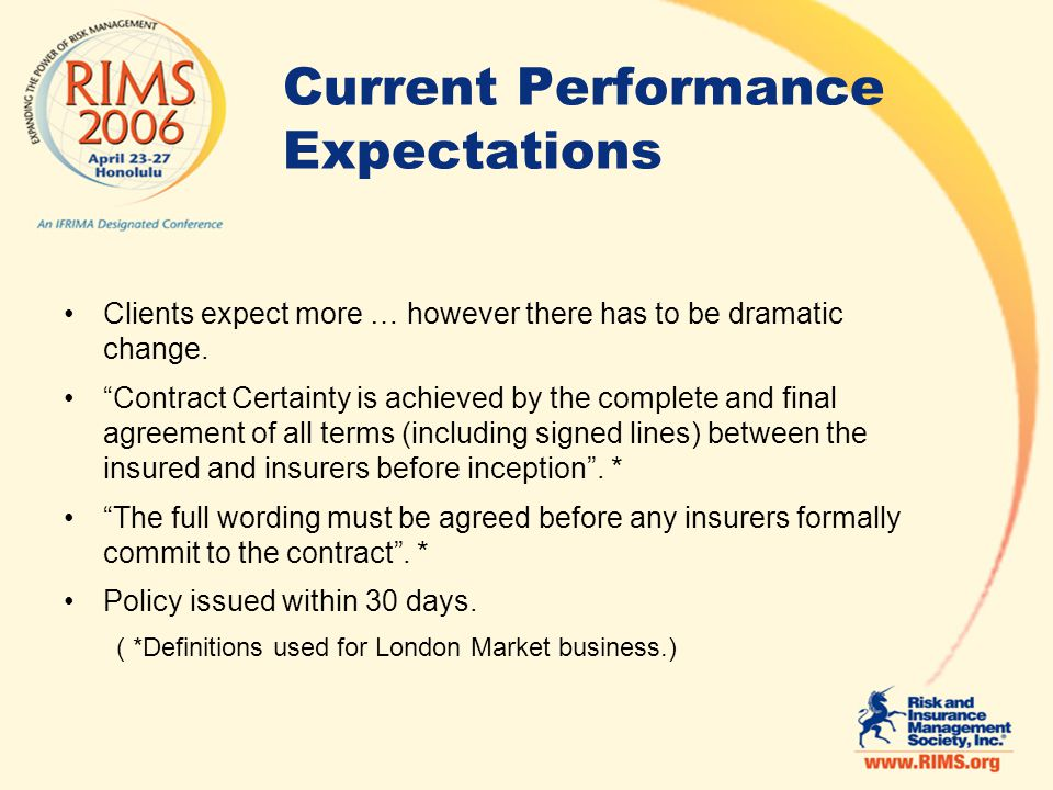 Current Performance Expectations Clients expect more … however there has to be dramatic change.