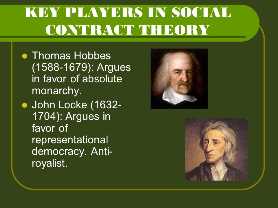 KEY PLAYERS IN SOCIAL CONTRACT THEORY Thomas Hobbes (1588-1679): Argues in favor of absolute monarchy. John Locke (1632- 1704): Argues in favor of rep