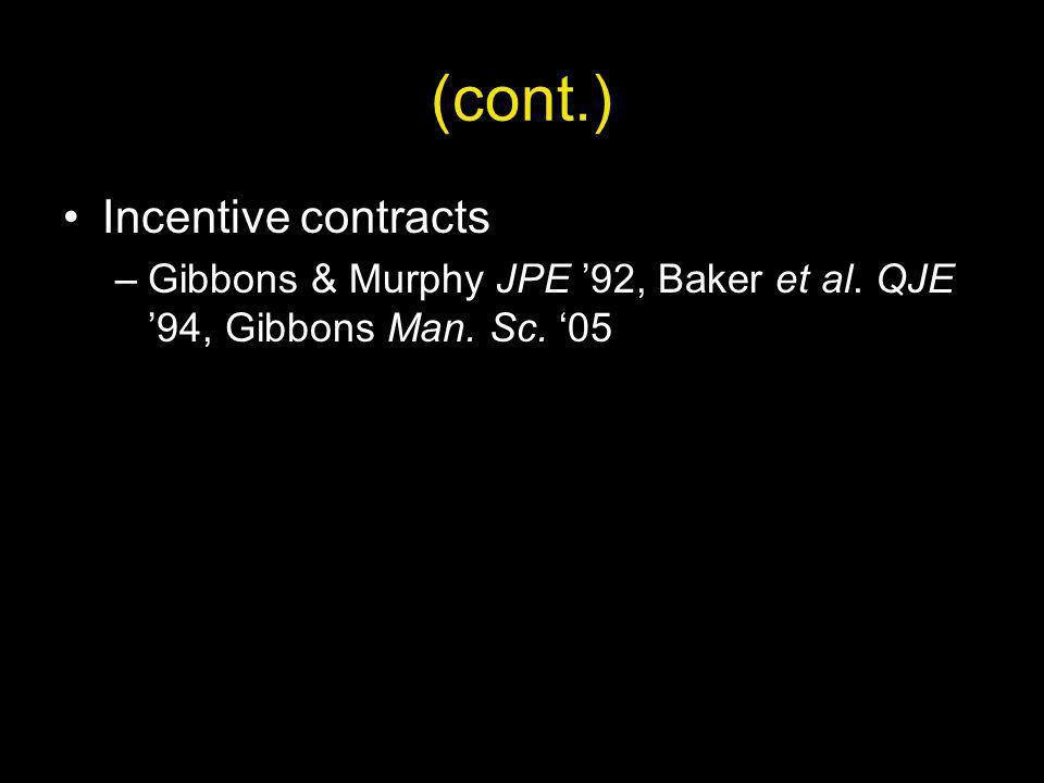 (cont.) Incentive contracts –Gibbons & Murphy JPE 92, Baker et al. QJE 94, Gibbons Man. Sc. 05