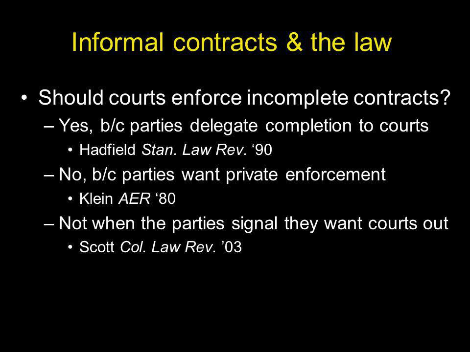 Informal contracts & the law Should courts enforce incomplete contracts.