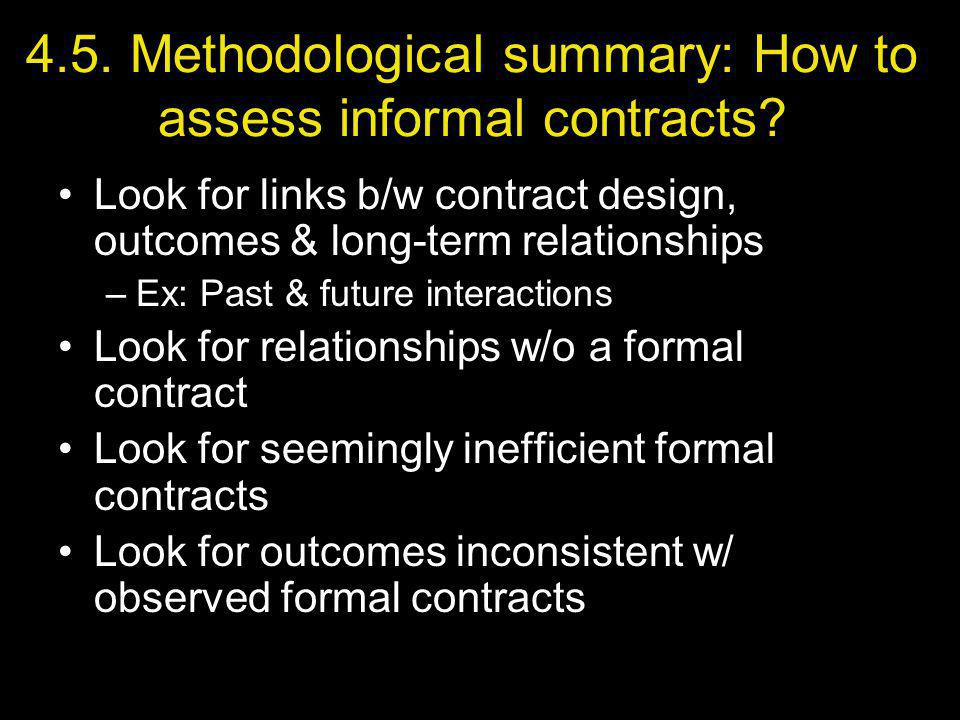 4.5. Methodological summary: How to assess informal contracts.