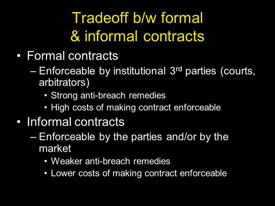 Tradeoff b/w formal & informal contracts Formal contracts –Enforceable by institutional 3 rd parties (courts, arbitrators) Strong anti-breach remedies High costs of making contract enforceable Informal contracts –Enforceable by the parties and/or by the market Weaker anti-breach remedies Lower costs of making contract enforceable