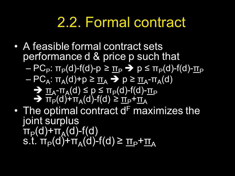 2.2. Formal contract A feasible formal contract sets performance d & price p such that –PC P : π P (d)-f(d)-p π P p π P (d)-f(d)-π P –PC A : π A (d)+p