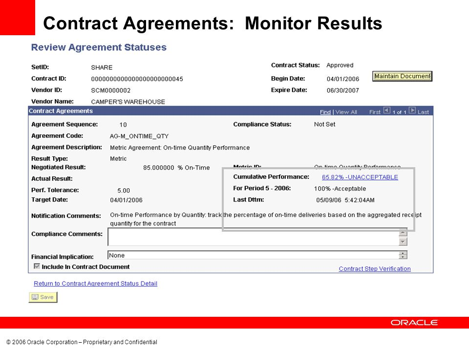 © 2006 Oracle Corporation – Proprietary and Confidential Contract Agreements: Monitor Results