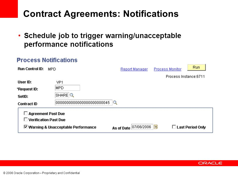 © 2006 Oracle Corporation – Proprietary and Confidential Contract Agreements: Notifications Schedule job to trigger warning/unacceptable performance notifications