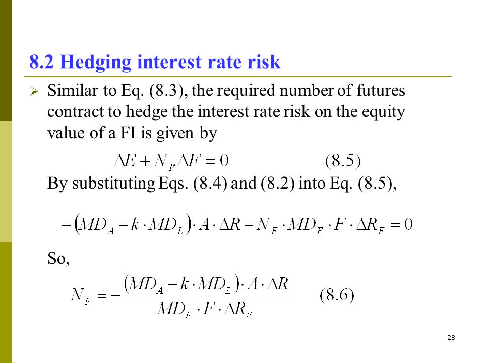 28 8.2 Hedging interest rate risk Similar to Eq. (8.3), the required number of futures contract to hedge the interest rate risk on the equity value of